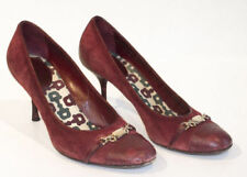 GUCCI [ Red SUEDE LEATHER CAP TOE HORSEBIT BUCKLE CLASSIC PUMPS HEELS SZ 9.5
