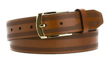 LEJON Men's Dress Casual Italian Saddle Leather Belt Made in the USA  Brown