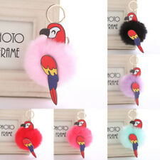 Fashion Pompom Fluffy Parrot Keychain Faux Rabbit Fur Bag Birds Key Ring Jewelry