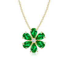 Prong-Set Cluster Emerald Flower Pendant Necklace with Diamond 14K Yellow Gold