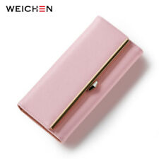 Hot Geometric Long Women Wallets Clutch PU Leather Hasp Solid Purse Card Holder