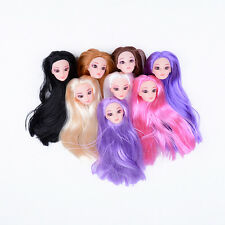Quality Doll Head with Colorized straight Hair DIY Accessories For Barbie  BH