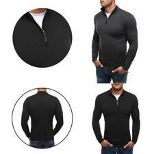 Men's woolen sweater Solid color knit shirt  Casual style High-necked knitwear
