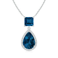 Square & Pear London Blue Topaz Pendant with Diamond 14k White Gold