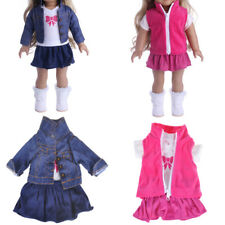 Doll Fancy Jeans Shirt Dress Suit for 18' American Girl Doll Clothes Outfit Kjs
