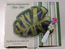 Boston Warehouse Sunset Palms Dip Bowl & Spreader Set NIB Palm Leaf Green