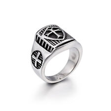 316L Stainless Steel Ring Cross Shield Tribal Vintage Titanium Fashion Jewelry