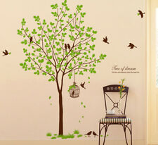 """72"""" Tall Large Tree Wall Decals Removable Birds Cage Vinyl Home Decor Stickers"""