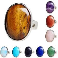 Ethnic Natural Crystal Oval Gemstone Wedding Finger Ring Adjustable Band