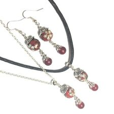 Silver Red Necklace, Earring Set, Leather Choker, Studs, Clip-On, or Hooks