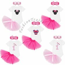1st Birthday Minnie Baby Infant Girls Romper Tulle Skirt Outfits Dress Clothes