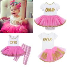 Kids Infant Baby Girls Birthday Tops dress/Romper +Pants/Skirt Outfits Clothes