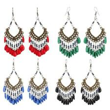 Retro Tassel Beads Hollow Out Earrings Ethnic Tribal Boho Dangle Earrings