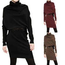 Womens Winter Cowl Neck Long Sleeve Casual Loose Warm Sweater Pullover Dress