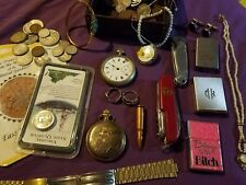 JUNK DRAWER LOT GOLD & SILVER JEWELRY, KNIVES, POCKET WATCHES, SILVER COINS