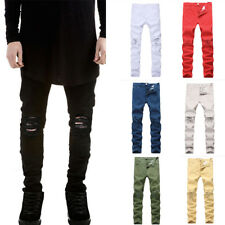 Mens Distressed Ripped Skinny Hip-Hop Jeans Casual Pants Slim Fit Denim Trousers