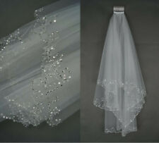 Ivory/White Bridal Veil Handmade Beaded Sequins Elbow Length 2T +Comb 0367