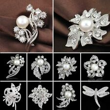 1x Wedding Bridal Flower Pearl Dragonfly Crystal Brooch Pin Valentine's Day Gift
