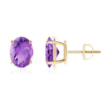 2.2ct Solitaire Oval Natural Amethyst Stud Earrings 14k Yellow Gold