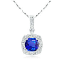 "1.2 ct Vintage Style Cushion Cut Tanzanite Diamond Necklace Pendant 18"" Chain"