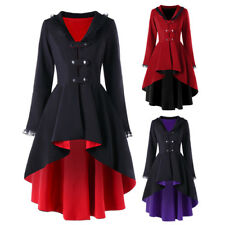 Punk Rave Gothic Women Lace Coat Black Red Cosplay Steampunk Witch Long Jacket