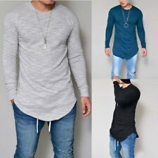 Mens Crew Neck Long Sleeve Solid Slim Fit Muscle Casual Tops T-Shirts Basic Tee