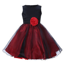 Baby Girls Black & Red Sleeveless Skater Party Holiday Pageant Dress