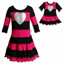 Girl 5-12 and Doll Matching Pink Striped Heart Dress Clothes fit American Girl