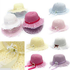 Baby Girls Children Kids Lace Flower Hat Node Brim Summer Beach Sun Straw Cap BH