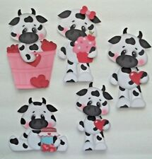 3D- U Pick- Love Valentines Cows Dragons Dinosaurs XO Heart Paper Embellishment
