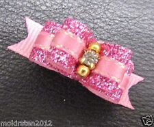 "Mo's USA Dog Bows -3/8"" tiny dog show bow pink xx-small- Teacup bling Yorkie+"