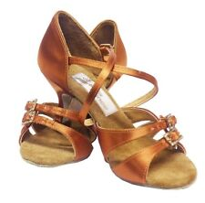 "NEW AIDA Sasha (Aida 071)  Tan Satin 2.5"" Flare Medium RETURNABLE"