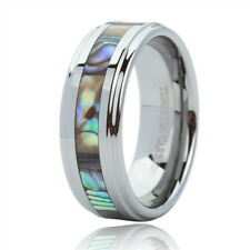 8mm Tungsten Carbide Ring  Abalone Shell Inlay Wedding Band Men Women Jewelry US