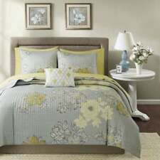 8pc grey taupe silver yellow floral design lightweight coverlet sham & sheet set
