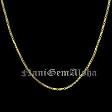 Hawaiian Jewelry 925 Sterling Silver Box Chain 14k Yellow Gold Plated Chain 1mm