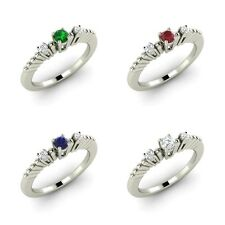 Three Stone Engagement Ring Real Natural Gemstone & SI Diamond White Gold Ring