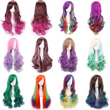 Womens Ladies Multi-Color Cosplay Costume Wavy Hair Party Long Curly Full Wigs