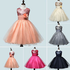 EG_ Girls' Flower Sequins Princess Dress Layered Ruffle Ball Gown Dress Convenie