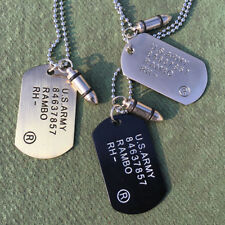 Mens Military Army Bullet SINGLE EMBOSSED Dog Tags Pendant Chain Charm Necklace