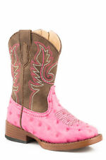 Roper Annabelle Infant Pink Faux Leather Ostrich Western Boots