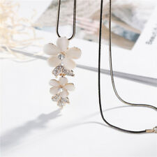 Girls Flower Crystal Pendant Charm Long Chain Necklace For Lover Couple Gift