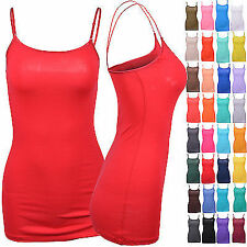 Comfy Solid Adjustable Spaghetti Strap Basic Layering Camisole Stretch Tank Top
