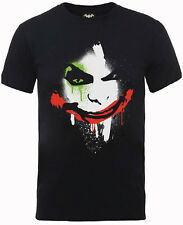 Official DC Comics Batman Joker T-Shirt Arkham City Face Mens Black Design Tee