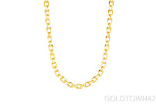 Set of 14k Yellow Gold Shiny Oval Link Bracelet & Necklace with Lobster Clasp