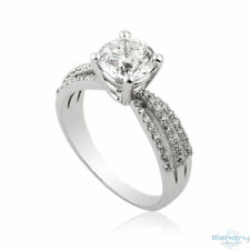 14K White Gold Engagement Ring Size 6.25 Certified 1.55CT F Si1 Diamond Enhanced