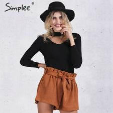 Simplee® Slim Halter Knitted Sweater Women Tops V Neck Short Pullover Casual