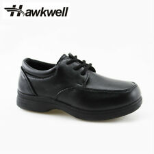 Hawkwell Kids School Uniform Shoes Boys Girls Lace up Oxford Black Sneakers