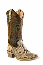 Outlaw Brown Mens Oryx Lizard Print Leather Cowboy Western Boots