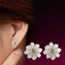 1Pair Flower Silver Plated Ear Studs Earrings Women Elegant Jewelry A%