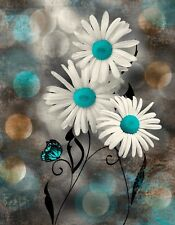 Rustic Modern Wall Art, Daisy Flowers Butterflies, Teal Brown Matted Picture